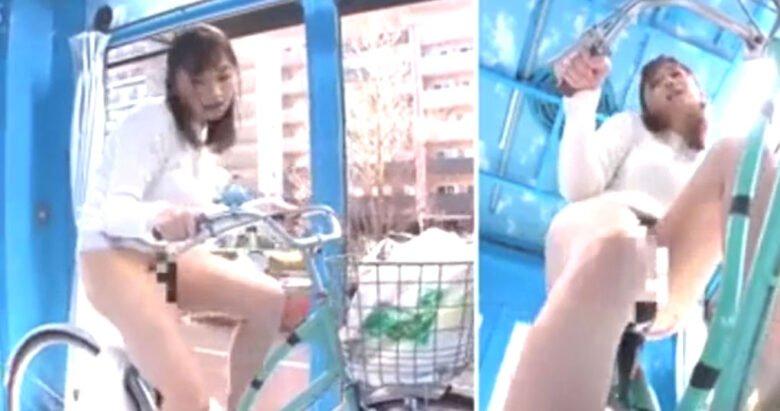 マジックミラー号素人巨乳美人奥さん潮吹きSEX! ディルド付きサドル自転車の試乗で逝きまくり悶絶アクメ!
